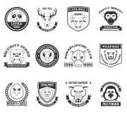 Wilde Dierlijke Zwarte Witte Geplaatste Etiketten Royalty-vrije Stock Fotografie