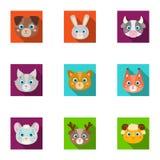 Wilde en huisdieren Een reeks beelden over dieren Dierlijk snuitpictogram in vastgestelde inzameling op vlakke stijlvector Royalty-vrije Stock Afbeelding