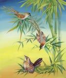 Wilde exotische Vögel des Aquarells auf Blumen Lizenzfreie Stockfotos