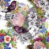 Wilde exotische Vögel des Aquarells auf nahtlosem Muster der Blumen auf weißem Hintergrund Lizenzfreie Stockfotos