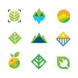Wilde grüne Natur nahm Energie für Logoikone der zukünftigen Generation gefangen Stockbilder
