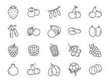 Wilde het pictogramreeks van de bessenlijn Omvatte de pictogrammen als bosbes, Amerikaanse veenbes, framboos, aardbei, kers en me royalty-vrije illustratie