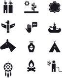 Wilde het westen, cowboy en van Indiërs pictogramreeks Stock Fotografie