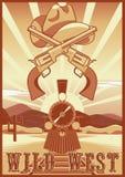 Wilde het westen uitstekende kaart of affiche met woestijnlandschap, trein, kanonnen en hoed Stock Afbeelding