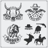 Wilde het westenreeks rodeo, sheriff en cowboy uitstekende emblemen, etiketten, kentekens en ontwerpelementen stock illustratie