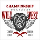 Wilde het westenrodeo - bizon hoofd, uitstekend vectorkunstwerk voor jongensslijtage stock illustratie