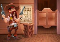 Wilde het westenscène als achtergrond - de koele sheriffcowboy met revolver, de deur van de zaal en de affiche met cowboy zien on vector illustratie