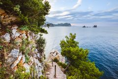 Wilde Montenegro-Landschaft nahe Petrovac Stockfotografie