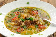 Wilde paddestoel en groentesoep met Spaanse peper in witte plaat Royalty-vrije Stock Foto's