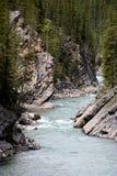 Wilde rivier in de rotsachtige bergen - Canada Royalty-vrije Stock Foto