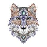 Wilde roofdier van de tatoegerings het hoofdwolf vector illustratie