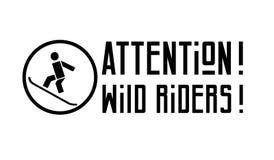 Wilde ruiters Snowboardings inspirational uitdrukking vector illustratie