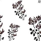 Wilde schwarze Blumen des nahtlosen Musters auf dem weißen Hintergrund watercolor Stockfotografie