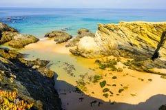 Wilde stranden op Alentejo gebied, Portugal royalty-vrije stock foto
