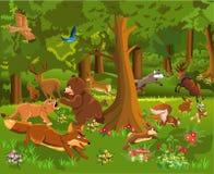 Wilde Tiere, die im Wald kämpfen vektor abbildung