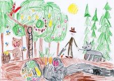 Wilde Tiere im Wald und Jäger mit Hund Zeichnung eines Vaters und des Sohns Stockfotografie