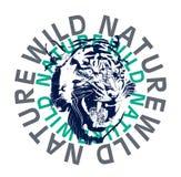 wilde Tigergraphik, T-Shirt Druck stock abbildung
