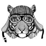 Wilde van de de motorfietsvliegenier van de tijger Wilde dierlijke dragende fietser van de de vliegclub de helmillustratie voor t stock illustratie
