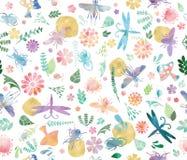 Wilde Welt im Aquarell-nahtlosen Muster Stockbilder