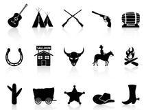 Wilde Westennen & geplaatste Cowboyspictogrammen Stock Foto
