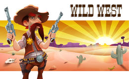 Wilde Westlandschaft mit kühlem Cowboy, Wüste bei Sonnenuntergang, Kakteen und Bergen lizenzfreie abbildung