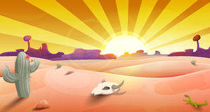 Wilde Westlandschaft mit Wüste am Sonnenuntergang, am Kaktus, an den Bergen und am Scull