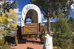 Wilde Westlastwagen-Rad-Postkutsche Sedona Arizona stockfoto