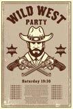 Wilde Westparteiplakatschablone Cowboyhut mit gekreuzten Revolvern Wildes Westthema Gestaltungselement für Plakat, Karte, Fahne,  lizenzfreie abbildung