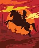 Wilde Westvektorillustration mit Mädchen Lizenzfreie Stockfotografie