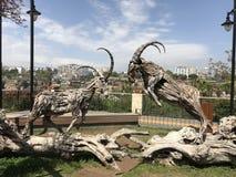 Wilde Ziegen-Skulptur im Park Stockfotos