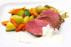 Wildebeast steak with grilled vegetables Stock Images