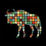 Wildebeest antelope mammal color silhouette animal. Vector Illustrator Royalty Free Stock Image