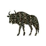Wildebeest antelope mammal color silhouette animal Royalty Free Stock Image