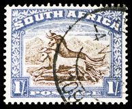 Wildebeest Connochaetes sp., Definitives serie, circa 1939. MOSCOW, RUSSIA - MARCH 23, 2019: A stamp printed in South Africa shows Wildebeest Connochaetes sp royalty free stock photos