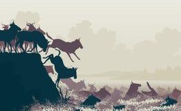 Wildebeest river crossing royalty free illustration