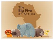 Wilder afrikanischer Tierhintergrund große fünf Lizenzfreie Stockfotografie