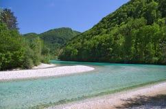 Wilder Fluss in den Alpen (Soca/Isonzo) Lizenzfreie Stockfotografie