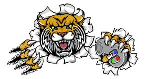 Wilder Gamer Bobcat Esports Mascot Lizenzfreies Stockbild