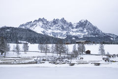Wilder Kaiser covered with snow, Going am Wilden Kaiser Stock Photos