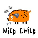 Wilder Kinderschweindruck lizenzfreies stockfoto