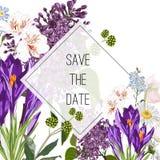 Wilder Krokus, lila Blumen und Krautblumenstrauß, elegante Kartenschablone Blumenplakat, laden ein vektor abbildung