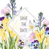 Wilder Krokus, Viola, Glockenblumen und Krautblumenstrauß, elegante Kartenschablone Blumenplakat, laden ein vektor abbildung