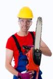 Wilder Mann mit Kettensäge Lizenzfreie Stockfotos
