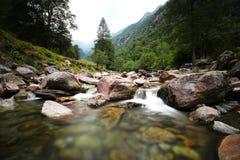 Wilder Nebenfluss in der Schweiz lizenzfreies stockfoto