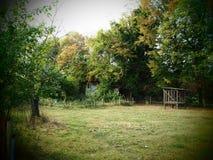 Wilder romantischer Bauernhofgarten auf einem Biobiohof stockfotos