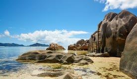 Wilder Strand, Seychellen Lizenzfreies Stockbild
