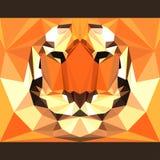 Wilder Tiger starrt vorwärts an Abstrakte geometrische polygonale Dreieckillustration Stockfoto