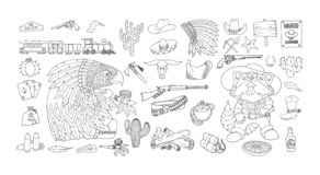 Wilder Westelementikonensatz Tinte und Federzeichnung Schreibt amerikanische Grenze zu stock abbildung