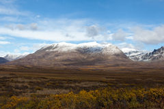 Tundra in Fall. Wilderness of Alaska tundra in late fall with snow on mountains Stock Photography