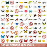 100 wilderness area icons set, flat style. 100 wilderness area icons set in flat style for any design vector illustration vector illustration